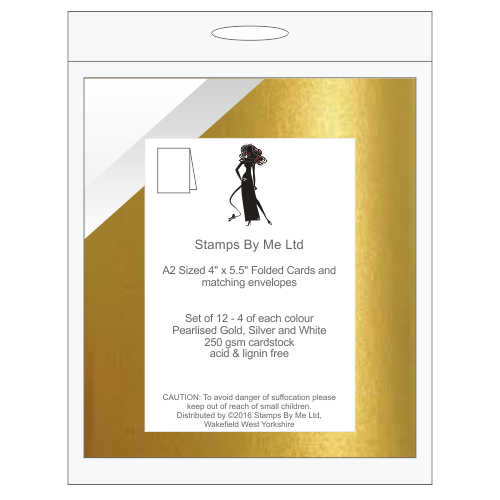 A2 NOTE CARDS AND MATCHING ENVELOPES - Gold, Silver and White - 140516a