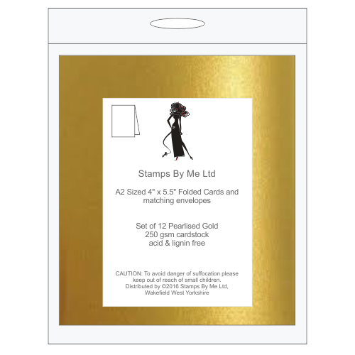 A2 NOTE CARDS AND MATCHING ENVELOPES - Gold - 140516d