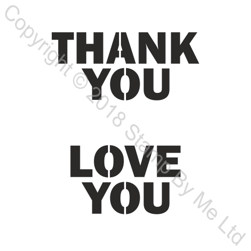 454481 TV - LAMINATION PLUS STENCIL - Thank You and Love You - 110718f