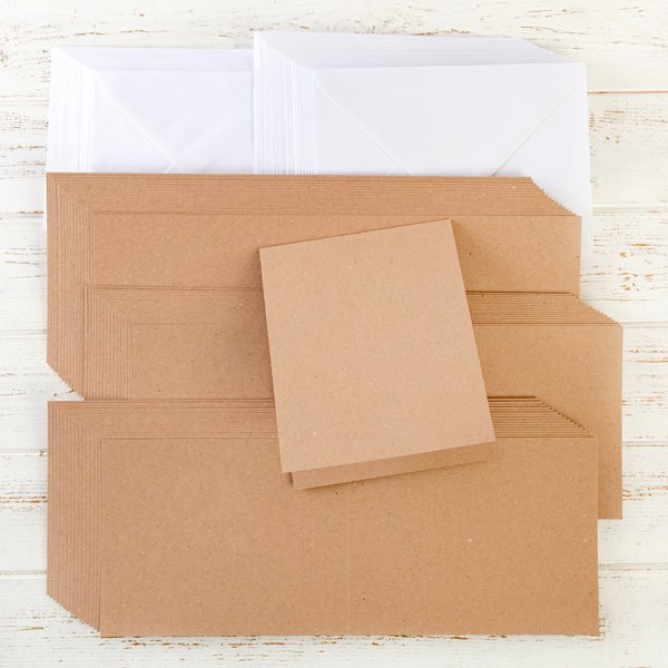 460936 TV KRAFT TOP FOLDING NOTE CARDS AND ENVELOPES X 50