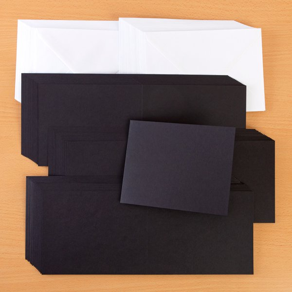 460936 TV - BLACK TOP FOLDING NOTE CARDS AND ENVELOPES X 50