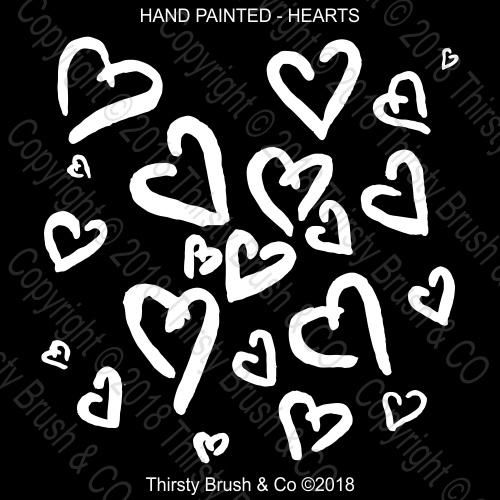 THIRSTY BRUSH & CO - HAND PAINTED HEARTS STENCIL
