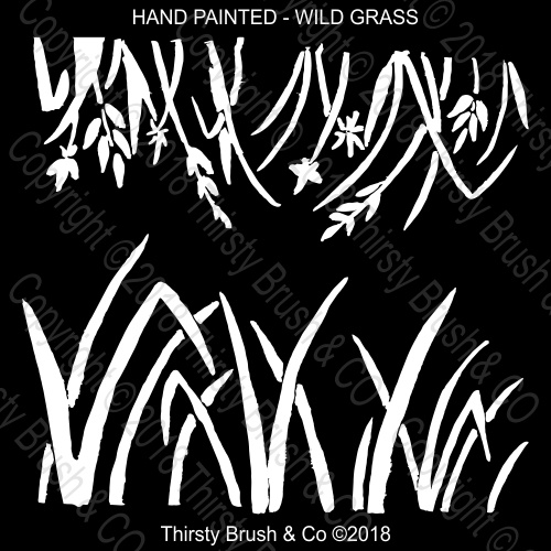 THIRSTY BRUSH & CO - HAND PAINTED WILD GRASS STENCIL