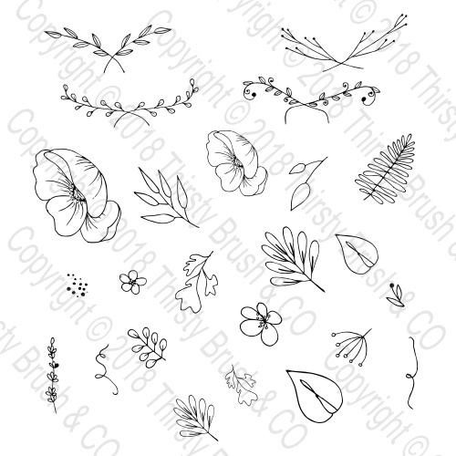 THIRSTY BRUSH & CO - LAURELS AND LEAVES ACCESSORIES A5 STAMP SET