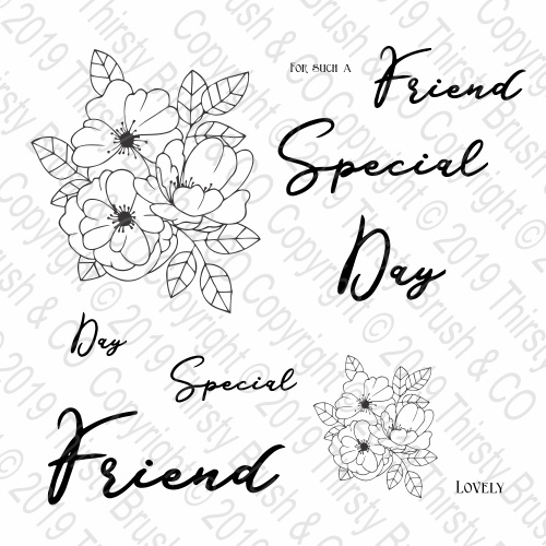 THIRSTY BRUSH & CO - MODERN FLORAL A5 STAMP SET - FBL