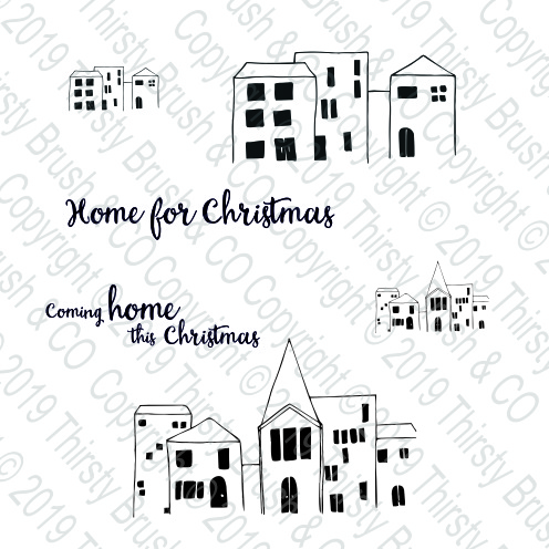 THIRSTY BRUSH & CO - HOME FOR CHRISTMAS A5 STAMP SET 120719f