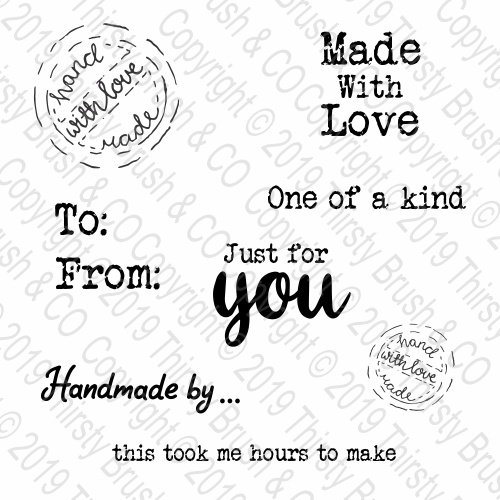 THIRSTY BRUSH & CO - MADE WITH LOVE - A6 STAMP SET - FBL