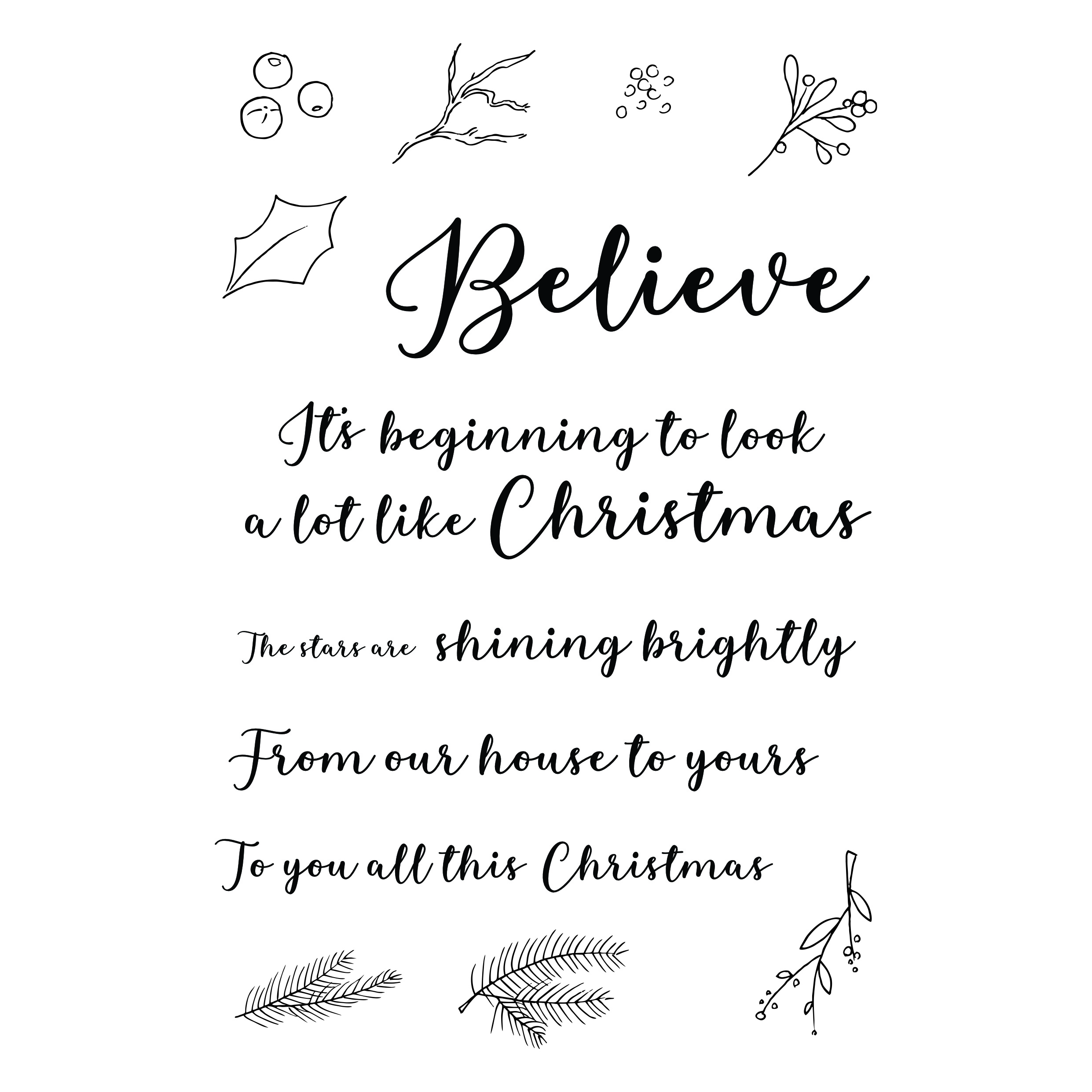 THIRSTY BRUSH & CO - BELIEVE A5 STAMP SET 120719k