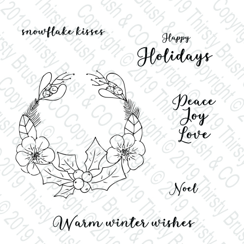 THIRSTY BRUSH & CO - HAPPY HOLIDAYS A5 STAMP SET 120819g