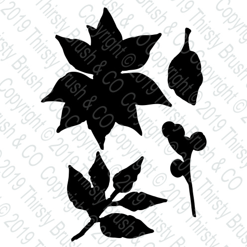 THIRSTY BRUSH & CO - POINSETTIA COORDINATING DIE SET 120819j