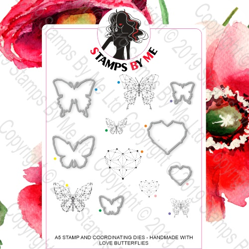 493354 TV - A5 STAMP AND COORDINATING DIES  - HANDMADE WITH LOVE BUTTERFLIES - 060919a