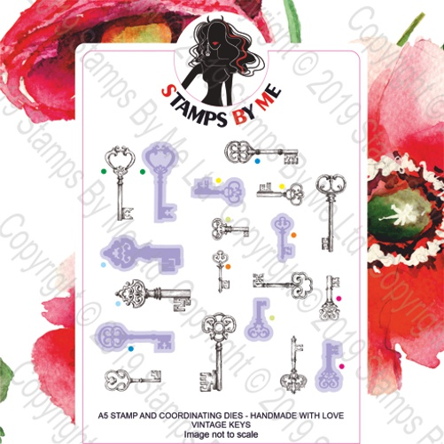 493355 TV - A5 STAMP AND COORDINATING DIES - HANDMADE WITH LOVE VINTAGE KEYS - 060919c