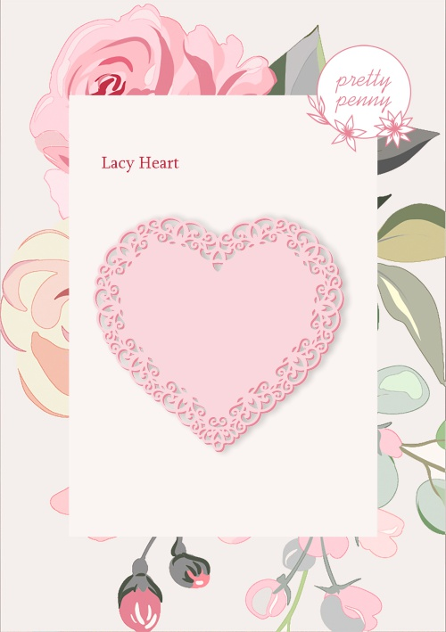 498342 TV - PRETTY PENNY - DIE SET - LACY HEART - 151119s