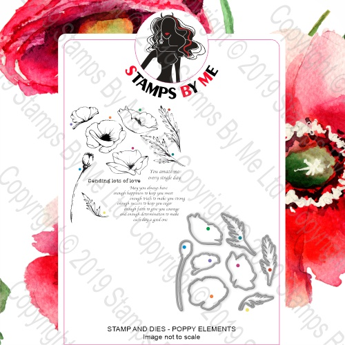 A4 STAMP AND COORDINATING DIE - POPPY ELEMENTS - 251119k