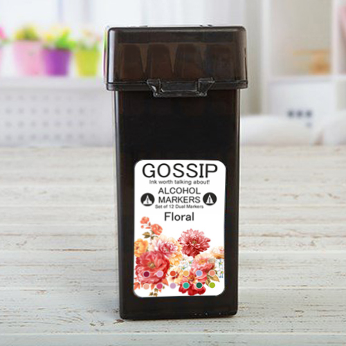 GOSSIP - 12 ALCOHOL MARKERS, FLORAL - 271119h