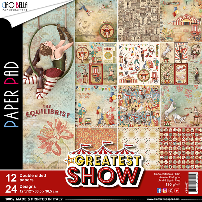 CIAO BELLA THE GREATEST SHOW DOUBLE-SIDED PAPER PAD 12X12