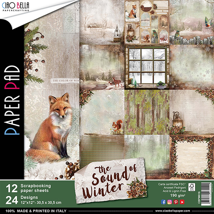 CIAO BELLA SOUND OF WINTER DOUBLE-SIDED PAPER PAD 12 X 12