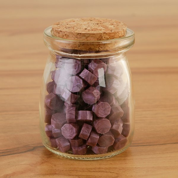 WAX SEAL BEADS IN GLASS JAR - PURPLE - 060620c