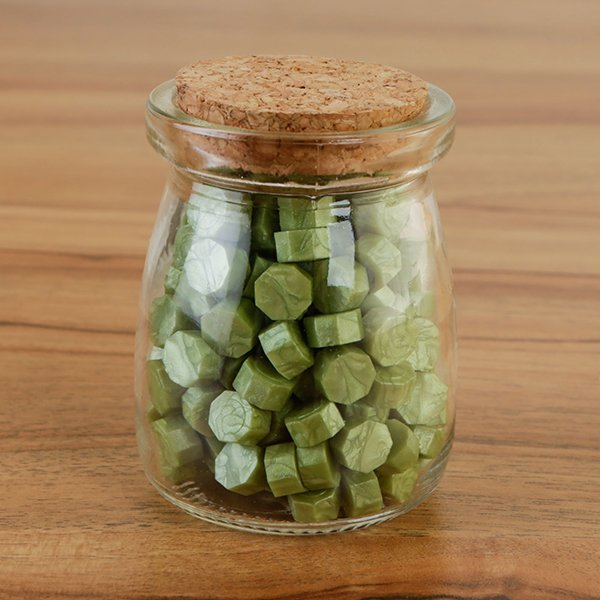 WAX SEAL BEADS IN GLASS JAR - GREEN - 060620f