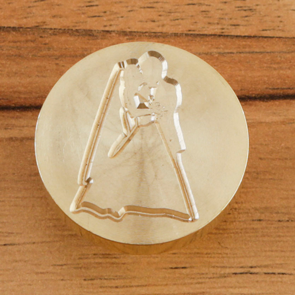 WAX SEAL BRASS HEAD - BRIDE AND GROOM - 060620d