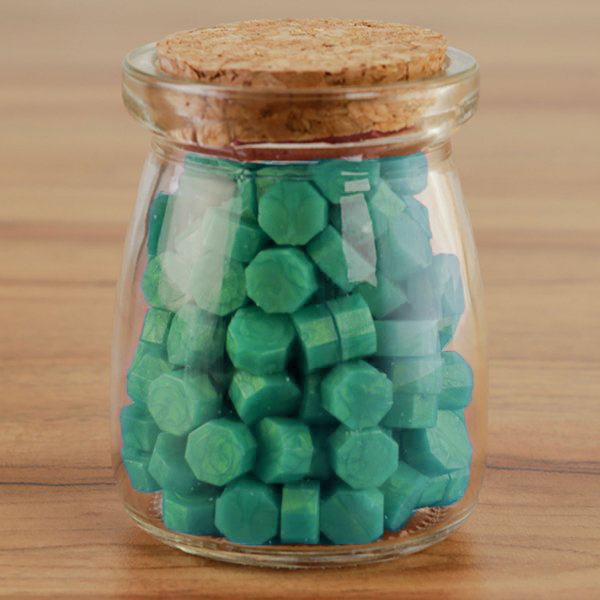 WAX SEAL BEADS IN GLASS JAR - AQUA