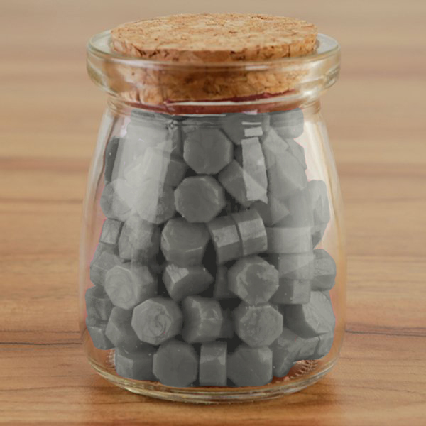 WAX SEAL BEADS IN GLASS JAR - SILVER