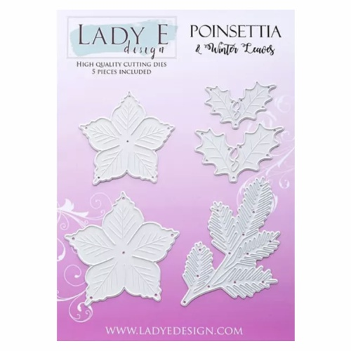 LADY E DESIGN - A5 DIE SET - POINSETTIA & WINTER LEAVES