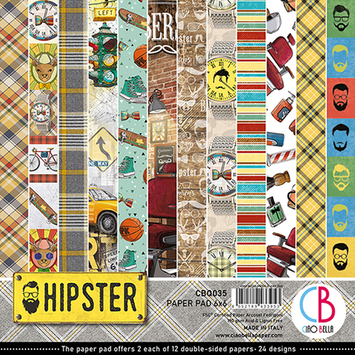 CIAO BELLA HIPSTER DOUBLE-SIDED PAPER PAD 6X6