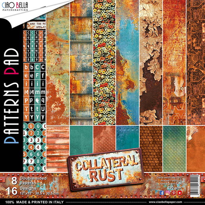 CIAO BELLA COLLATERAL RUST DOUBLE-SIDED PAPER PAD 12X12