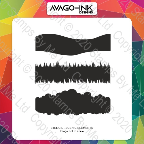 AVAGO-INK DESIGNS - STENCIL - SCENIC ELEMENTS - 120121a - FBL