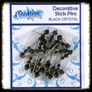 CREATIVE EXPRESSIONS - FINISHING TOUCHES - BLACK CRYSTAL PINS PK20 - 251120f