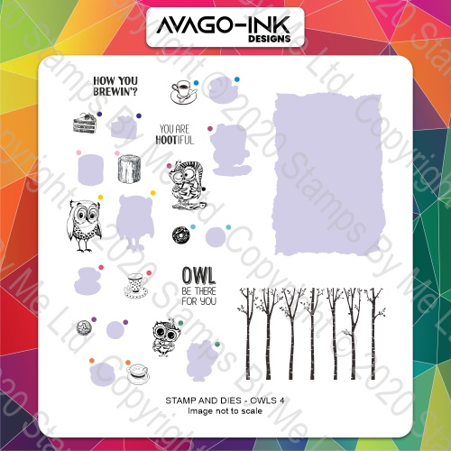 AVAGO-INK DESIGNS - A5 STAMP AND DIE - OWLS 4 - 180121d