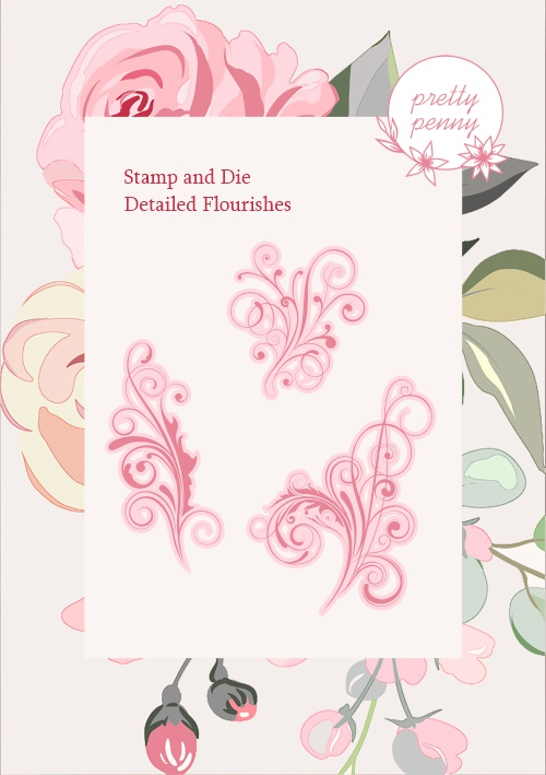 TV - PRETTY PENNY - A6 STAMP AND DIE SET - DETAILED FLOURISHES - 300121c - SHOW