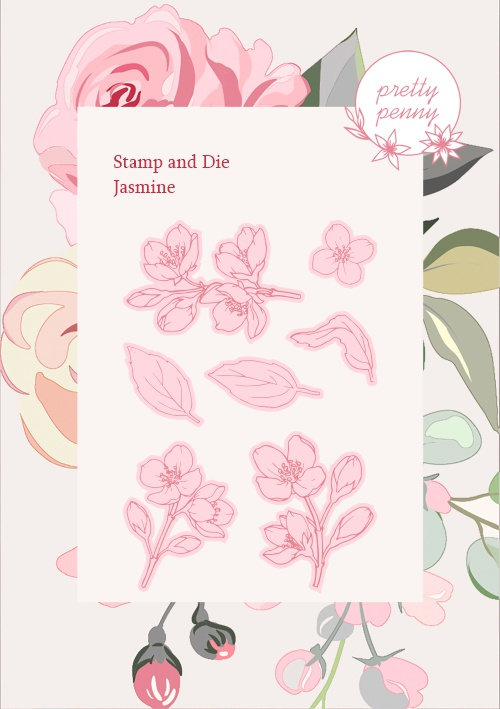 TV - PRETTY PENNY - A6 STAMP AND DIE SET - JASMINE - 300121f - SHOW