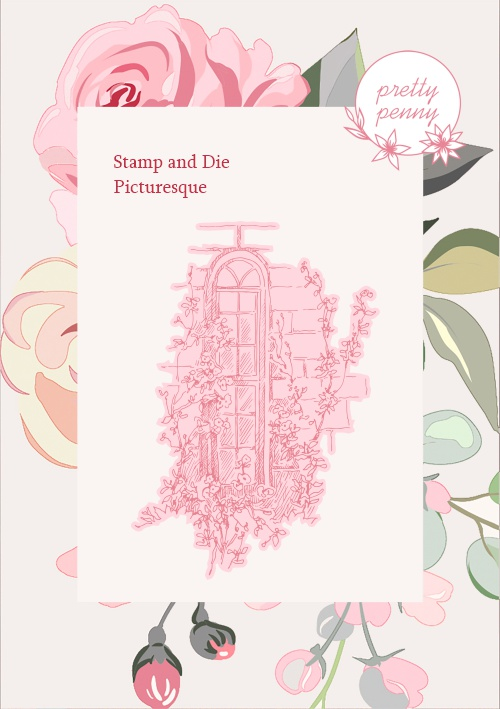 TV - PRETTY PENNY - A6 STAMP AND DIE SET - PICTURESQUE - 300121h - SHOW