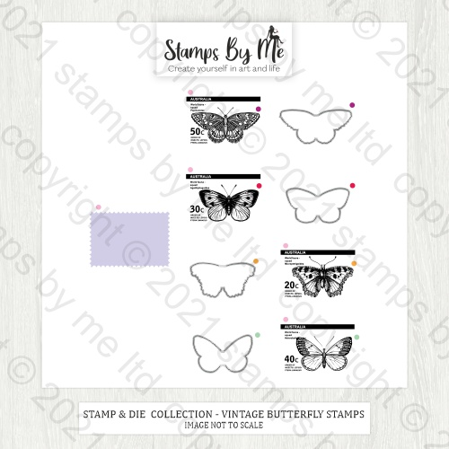 TV - A5 STAMP AND DIE - VINTAGE BUTTERFLIES - 060421e - SHOW