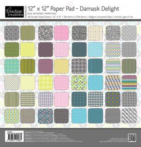 COUTURE CREATIONS DAMASK DELIGHT - 12 X 12 PAPER PAD - CCD1