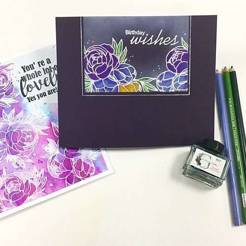 WATERCOLOUR FLOWER stamp set