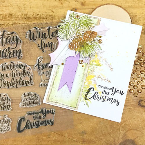 CHRISTMAS PINE CONES stamp set