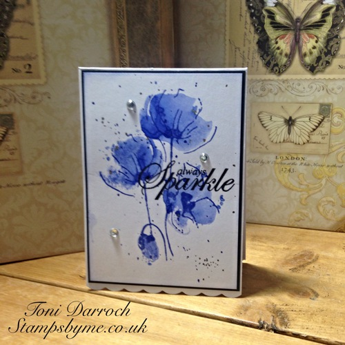 POPPY TRIO stamp and ALWAYS SPARKLE sentiment